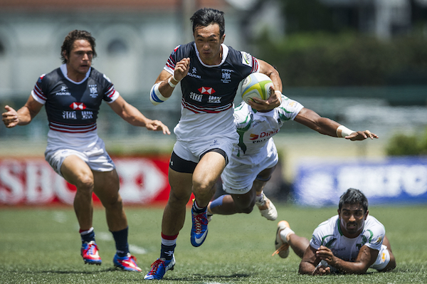 Hong Kong plays Sri Lanka during the ARFU Asian Rugby 7s Round 1 on August 24, 2014 at the Hong Kong Football Club in Hong Kong, China. Photo by Xaume Olleros / Power Sport Images