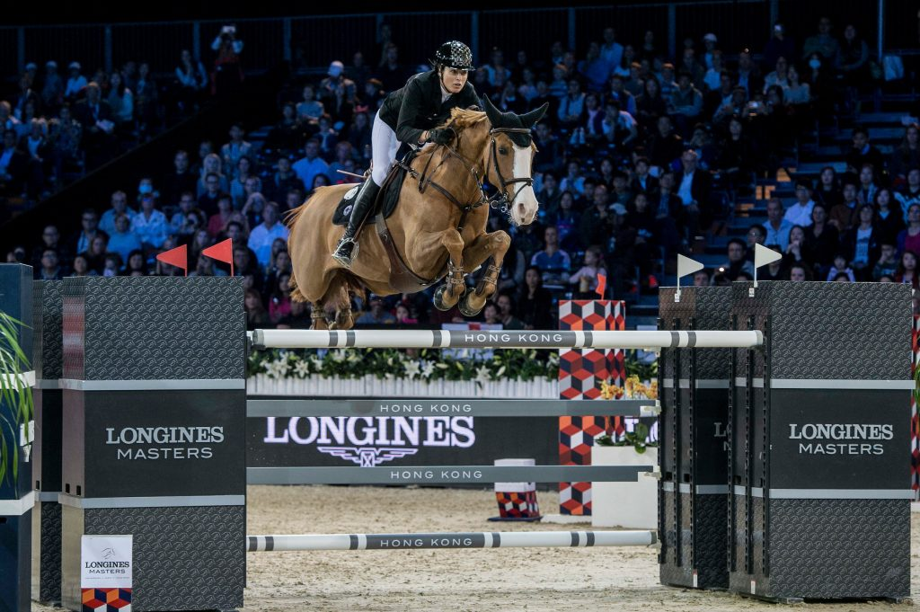 Pilar Lucrecia Cordon of Spain riding Gribouille du Lys competes during the Longines Grand Prix, part of the Longines Masters of Hong Kong on 12 February 2017 at the Asia World Expo in Hong Kong, China. Photo by Marcio Rodrigo Machado / Power Sport Images