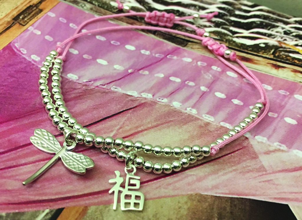 cmyk LIV - sterling silver bracelets with the dragonfly and the Chinese character for luck