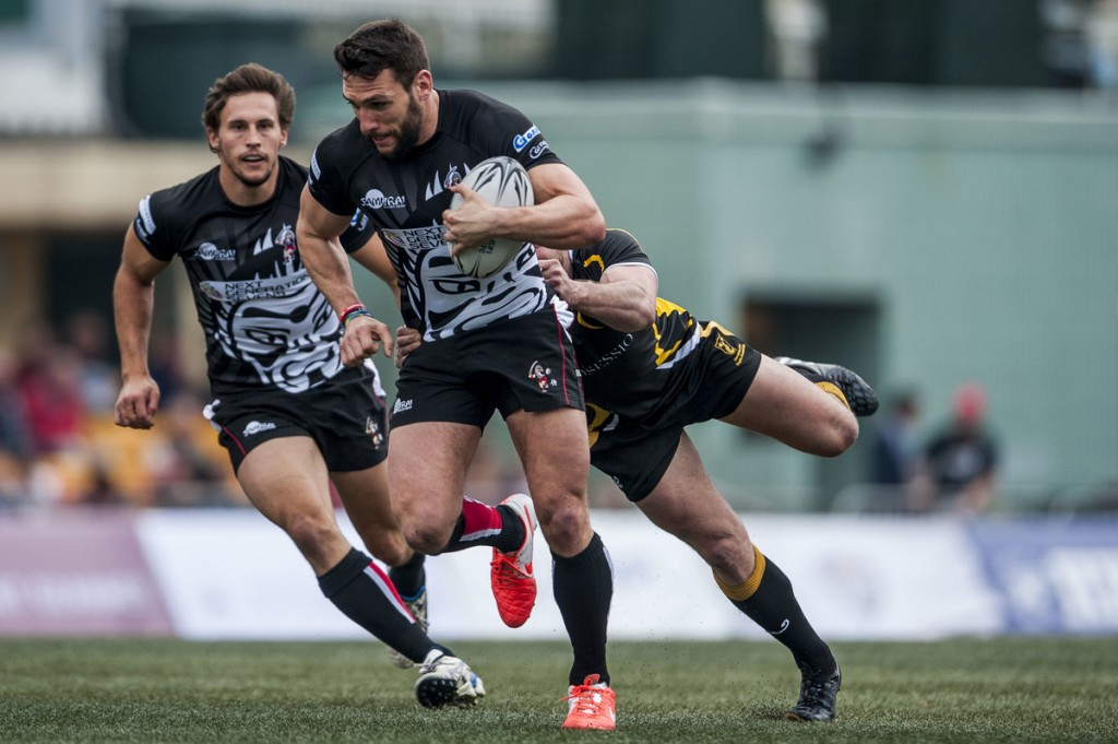 Samurai International vs Stockholm Exiles during the 2015 GFI HKFC Tens at the Hong Kong Football Club on 25 March 2015 in Hong Kong, China. Photo by Xaume Olleros / Power Sport Images
