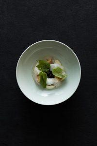 brown morels, stewed, mushroom tea poached duck foie gras, kabu purÇe & shavings with sorrel 2 copy