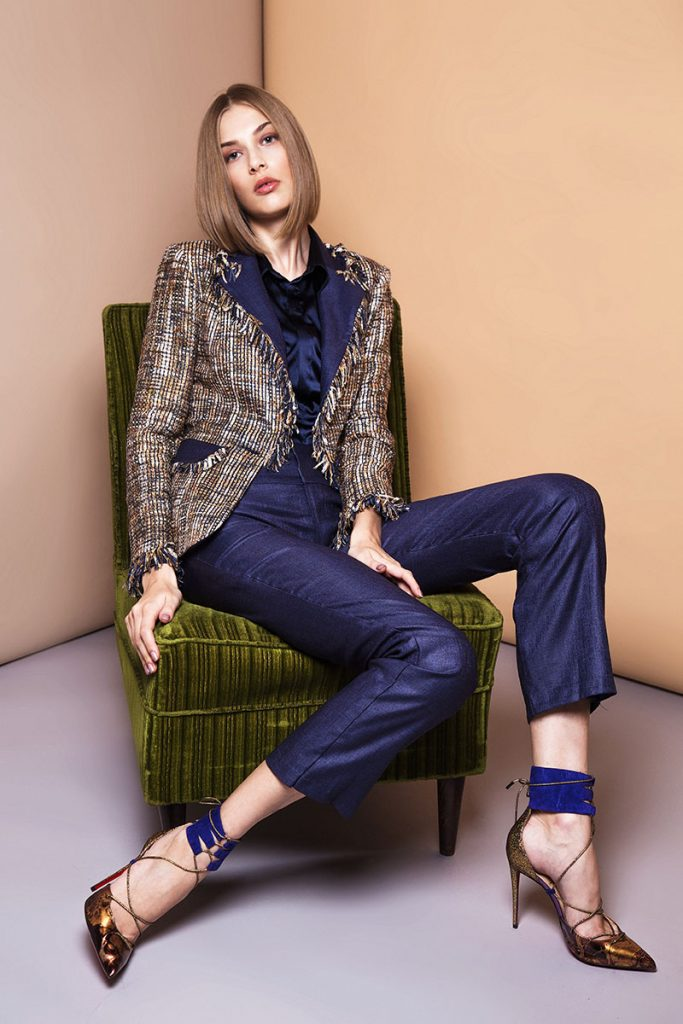Isabella Wren - Deep Blue suit with jacket detail