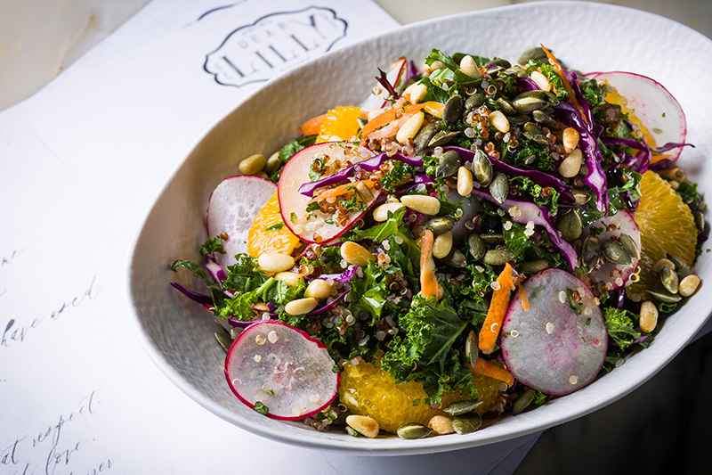 Curly Kale Salad with Quinoa, Dry Seeds, Red Radish and Orange Vinaigrette_2