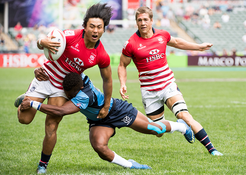 Hong Kong vs Namibia during their HSBC World Rugby Sevens Qualifier Series match during the HSBC World Rugby Sevens Qualifier Series match as part of the Cathay Pacific / HSBC Hong Kong Sevens at the Hong Kong Stadium on 07 April 2017 in Hong Kong, China. Photo by David Paul Morris / Future Project Group