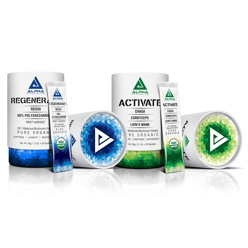 Activate/Regenerate Mushroom Blends, US$49 each or US$92 for both from alphadynamicshealth.com
