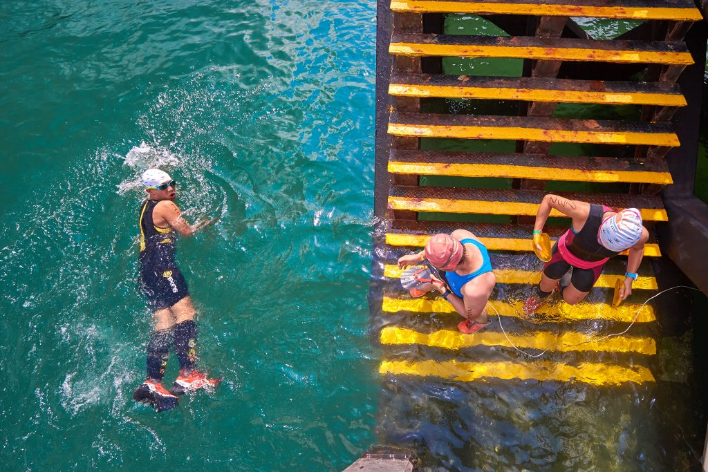 A man swims during a race by TerraMar in Hong Kong