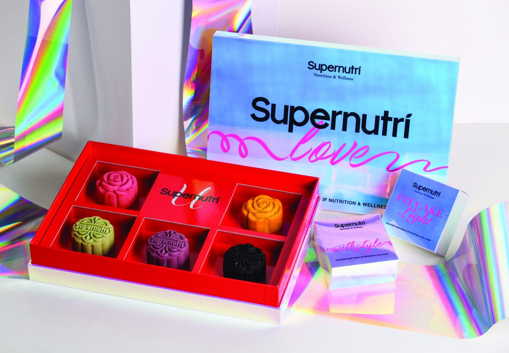 A red boxset of Supernutri's healthy mooncakes.