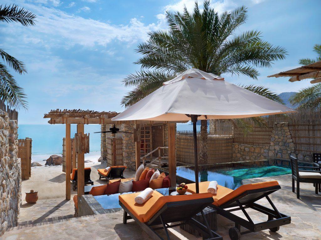 A  view of the beachfront villa at Six Senses Zighy Bay in Oman.