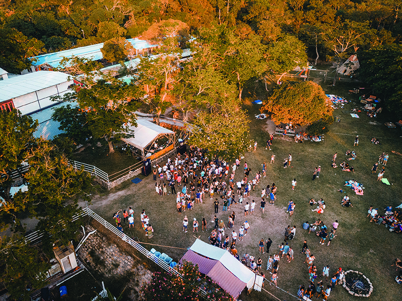 A drone image from high above a crowd at Shi Fu Miz Festival, a wellness festival in Hong Kong