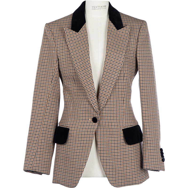 A recycled houndstooth coat from Celine