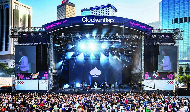 The main stage at Clockenflap, the biggest music festival in Hong Kong.