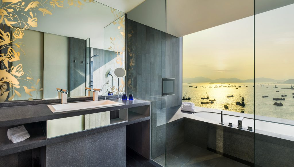 The bathroom in the Marvelous Suite at the W Hotel in Hong Kong, which is offering a staycation package with The Mills.