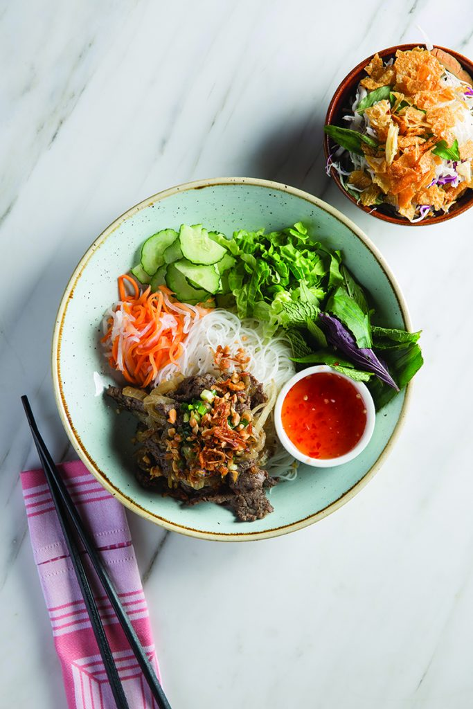 A plate of beef and rice noodles at Vietnamese brasserie Le Garcon Saigon, a healthy lunch option in Wan Chai.