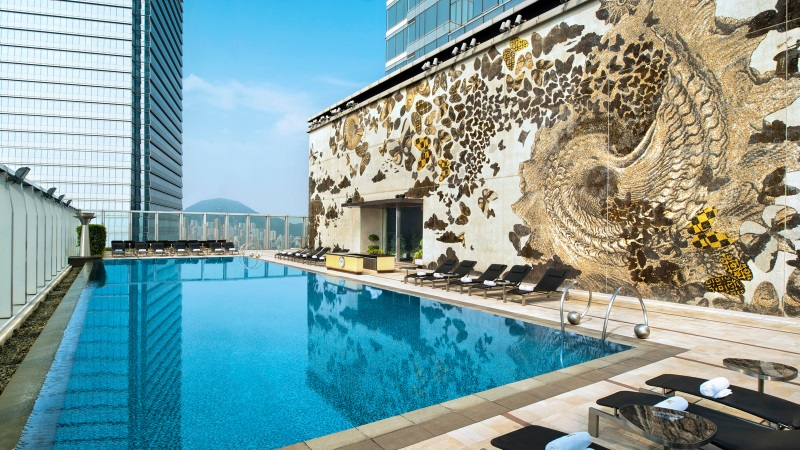 The rooftop pool at the W Hotel in Hong Kong.