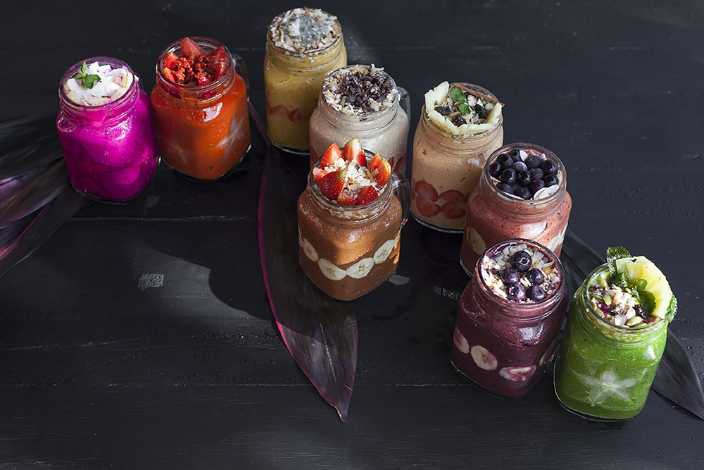 A collection of homemade smoothies at Escape Ritual luxury retreat in Bali.