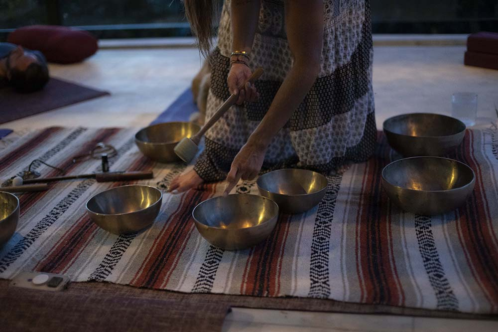 A set of Tibetan healing bowls at Escape Ritual in Bali.