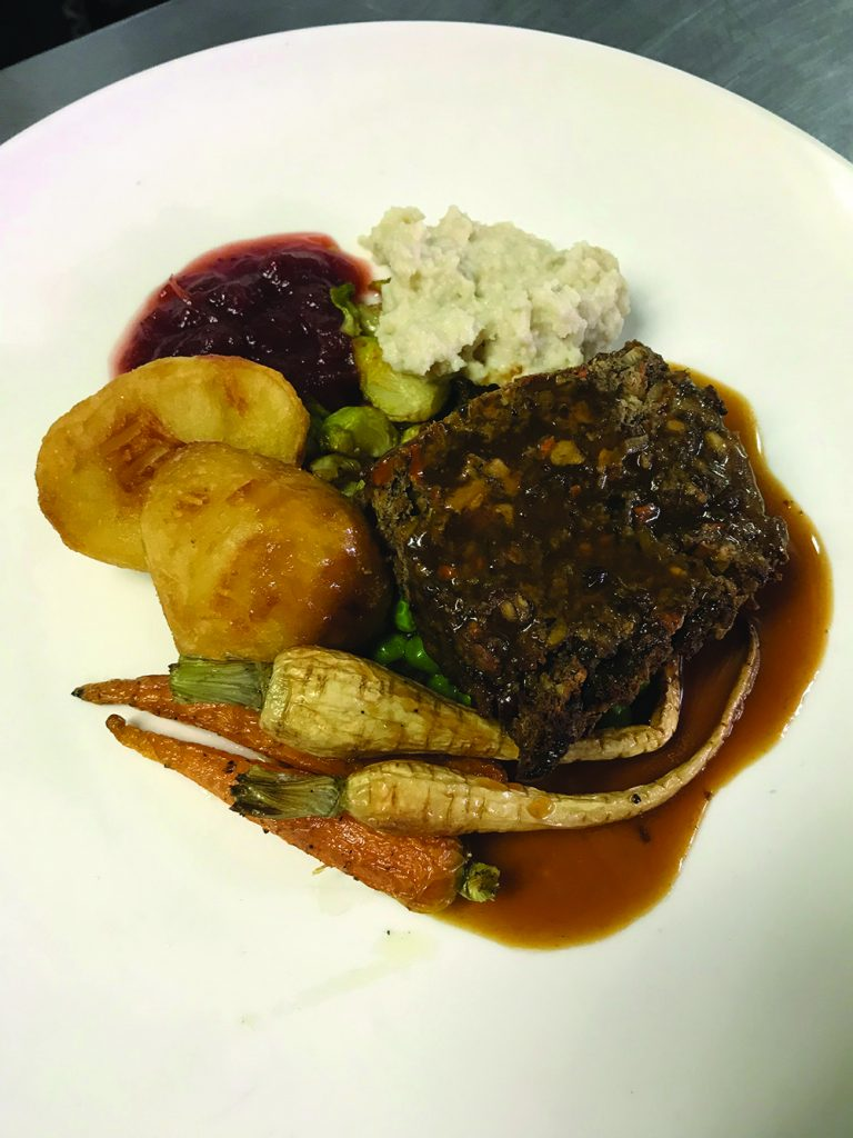 The vegan roast, a vegetarian Christmas dinner option at The Globe in Hong Kong.