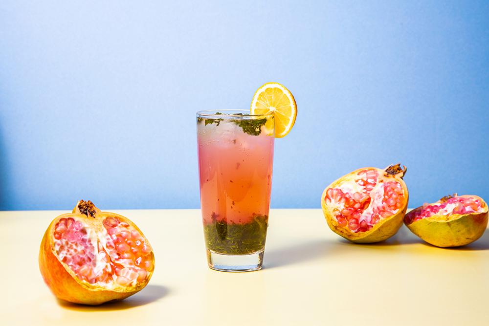 a zero alcohol virgin pomegranate mojito