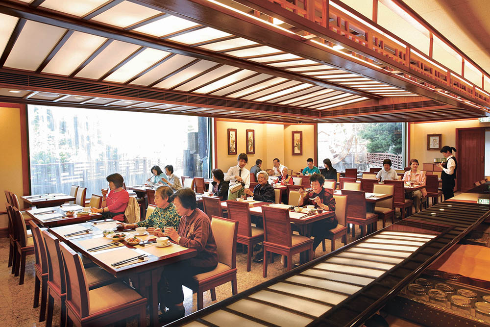 The inside of Chi Lin Vegetarian, a temple food restaurant inside Nan Lian Gardens in Hong Kong