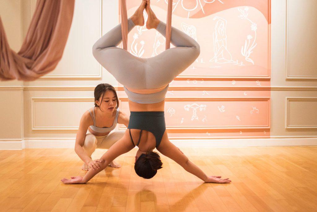 Aerial yoga at Studio La Lune